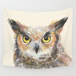 Owl Great Horned Owl Watercolor Wall Tapestry