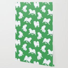 Samoyed Pattern (Green Background) Wallpaper