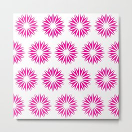 Pink Modern Sunbursts Metal Print