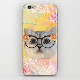 Cat with flower glasses iPhone Skin