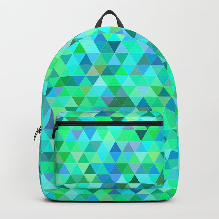 Green blue triangle pattern Backpack