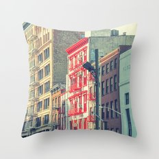 The red stairs in New York City Throw Pillow