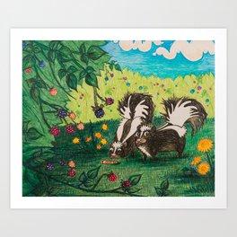 Skunk Picnic Art Print