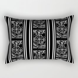 Black and White Tarot Print - Wheel Of Fortune Pattern Rectangular Pillow