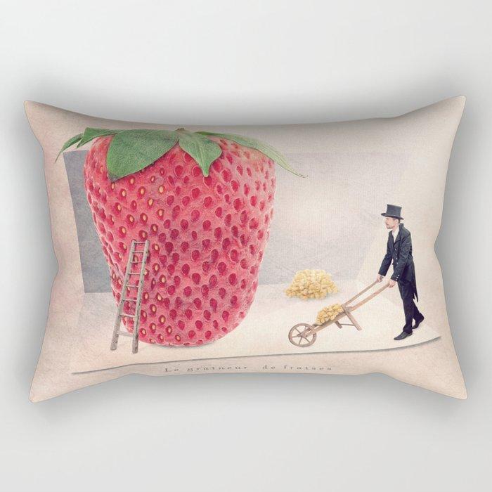 The strawberry seed-sticker Rectangular Pillow
