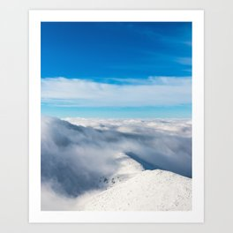 Mountains emerging from clouds Art Print
