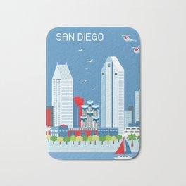 San Diego, California - Skyline Illustration by Loose Petals Bath Mat
