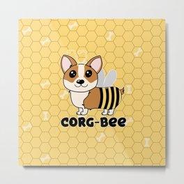 CorgBEE Cute Corgi Bee design for dog lovers - summer, spring, yellow, animal lover Metal Print