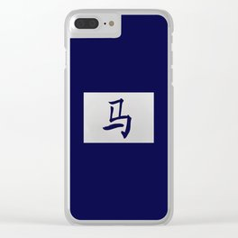 Chinese zodiac sign Horse blue Clear iPhone Case