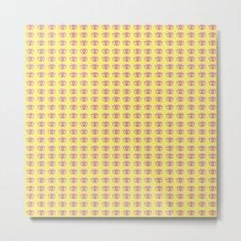 Rainbow Eyes Pattern - Tiny Yellow Metal Print