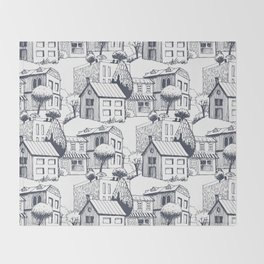 Hand drawing Houses Throw Blanket
