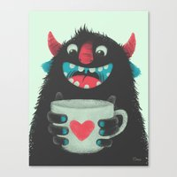 coffee Canvas Prints featuring Demon with a cup of coffee by Lime