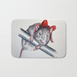 Rat in a bow Bath Mat