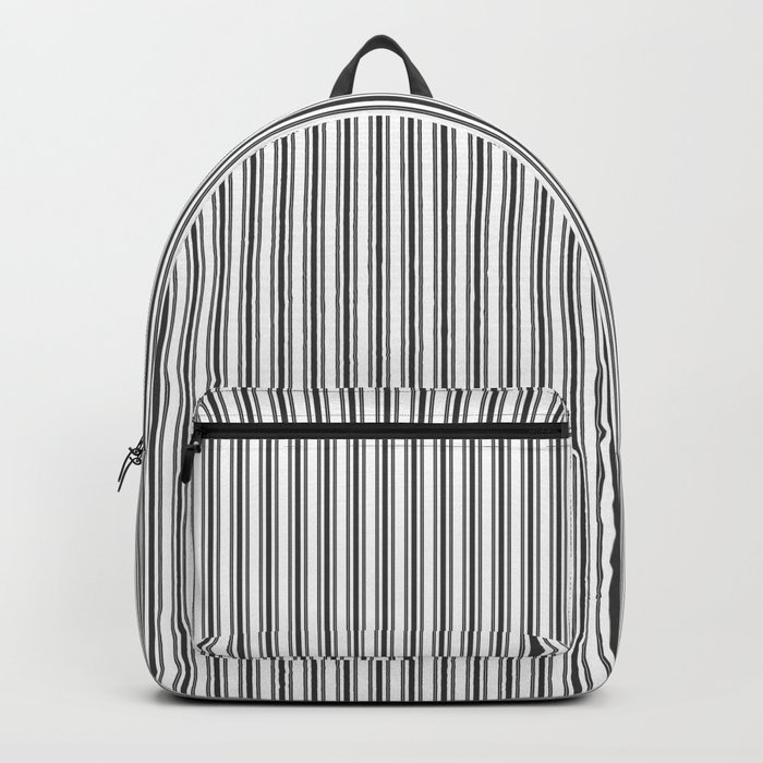 Classic Small Black Tarp Black French Mattress Ticking Double Stripes Backpack