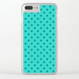 Teal on Turquoise Stars Clear iPhone Case