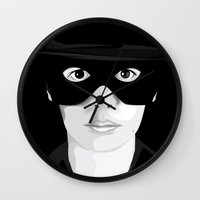 audrey Wall Clocks featuring Audrey by Pri Floriano