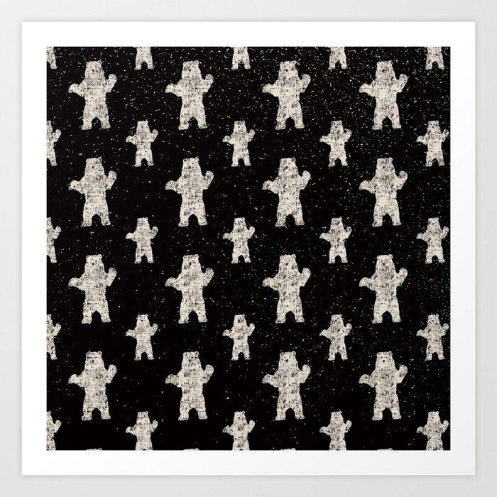 Polar Bear in Winter Snow on Black - Wild Animals - Mix & Match with Simplicity of Life Kunstdrucke