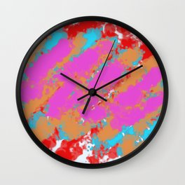 red pink blue and brown painting abstract background Wall Clock
