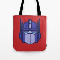 optimus prime Tote Bags featuring Optimus Prime by M. Gulin