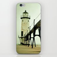 lights iPhone & iPod Skins featuring Manistee Light by Olivia Joy StClaire