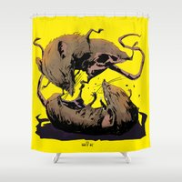 fight Shower Curtains featuring rat fight by antoniopiedade