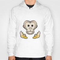 monkey Hoodies featuring Monkey by Nir P