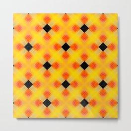 "Vibrant Yellow Orange Black ""Halloween"" Inspired Pattern Metal Print"