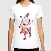 preppy T-shirts featuring Hipster Watercolor Dreamcatcher Feathers Pattern  by Girly Trend
