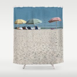 Bald Head Island Beach Umbrellas | Bald Head Island, North Carolina Shower Curtain