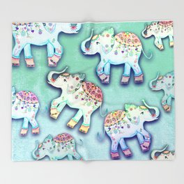ELEPHANT PARTY MINT Throw Blanket