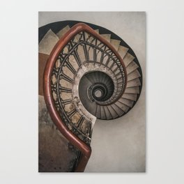 Spiral staircase in pastel brown tones Canvas Print