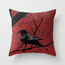 Crow Rust Industrial Red A673 Throw Pillow