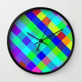 Checkered Colour - Geometric, Colour, Checkered Pattern Wall Clock