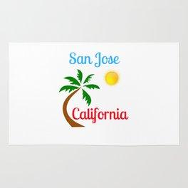 San Jose California Palm Tree and Sun Rug