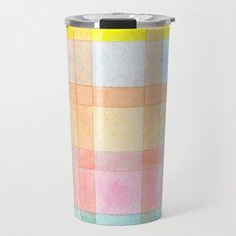 Pastel colored Watercolors Check Pattern Travel Mug