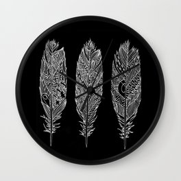Patterned Plumes - White Wall Clock