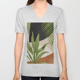 Abstract Art Tropical Leaf 11 Unisex V-Neck