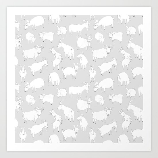 Charity fundraiser - Grey Goats Art Print