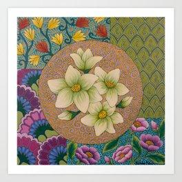 Jasmine Flower  Mandala  Art Print