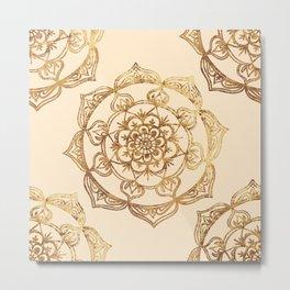 Gold & Cream Mandalas Metal Print
