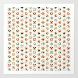 Circle Pup Pattern Art Print