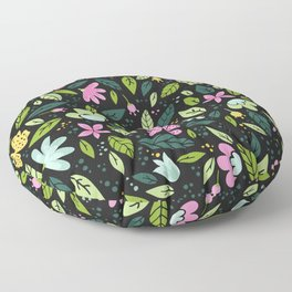 Modern Pink And Yellow Floral Pattern With Trendy Leaves Floor Pillow