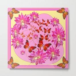 Modern Pink Butterflies Floral Abstract Metal Print
