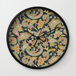 Nomad Paisley - Charcoal Wall Clock