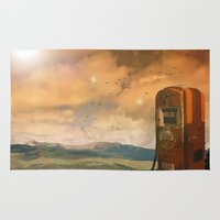 pocket fuel Area & Throw Rugs featuring old fuel pump by Cenk Cansever