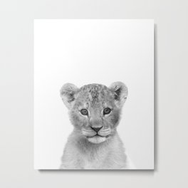 Baby Lion Black & White Art Print by Zouzounio Art Metal Print