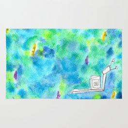 Rain Makes A Rainbow no.0 - watercolor illustration green blue Rug