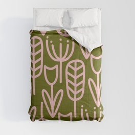 Cheerful Garden Minimalist Botanical Pattern in Pink and Olive Green Comforters