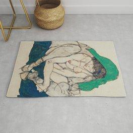 Egon Schiele - Crouching Woman with Green Headscarf Rug
