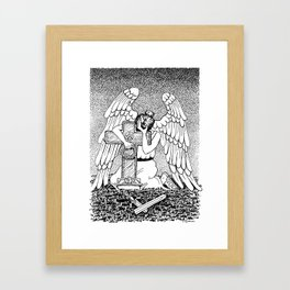 Weeping Angel at Grave Black And White Ink Drawing Framed Art Print